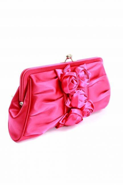 Hot Pink Satin Rose Cluster Clutch Bag - Vendula From Designer Desirables UK