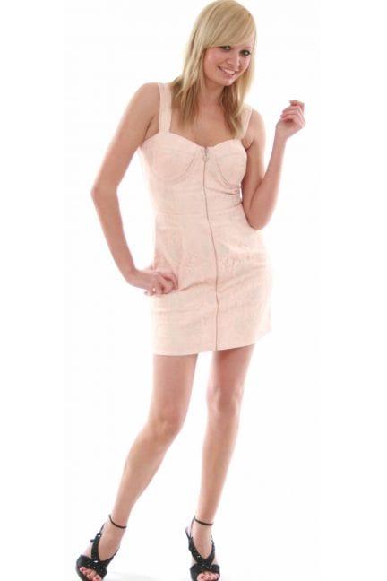 Women's Lipsy Zip Front Lace Brocade Bustier Dress