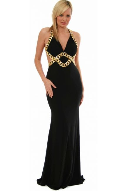 Women's Jovani Ball Gown - Gold Diamonte Chain Cut Out Goddess Style 8512