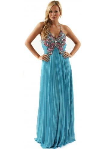 Evening Maxi Dress on Evening Dress Tyra Jewel Butterfly Turquoise Chiffon Maxi Dress