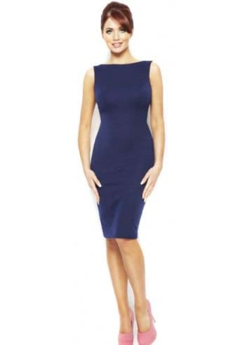 Dresses & Skirts Amy Childs Dress Micha Stretch-Jersey Cutaway Back Navy Pencil Midi Dress