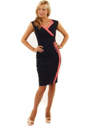 Wedding Dress Shops Essex on Hybrid Davina Dress   Hybrid Navy   Coral Button Pencil Dress