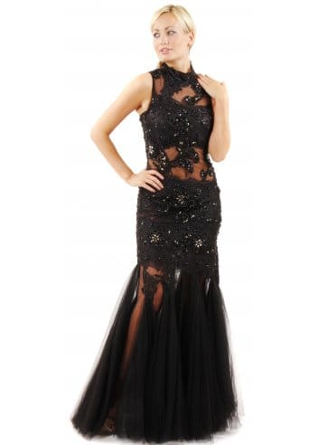 forever unique kassidy black lace ball gown  lace evening