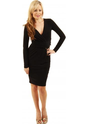 black wrap midi dress  black stretch jersey dress