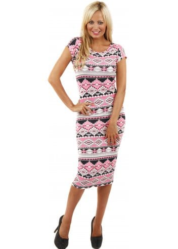 Pink Aztec Embroidered Dress Online Exclusive - Cut from fluid crepe in a bold fuchsia hue, this dress has intricate Aztec embroidery along the edges in contrasting navy thread to give it an ethnic feel.