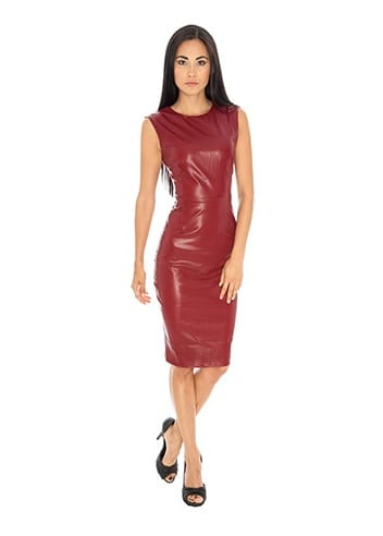 Goddess London Faux Leather Dress Red Leather Pencil Dress
