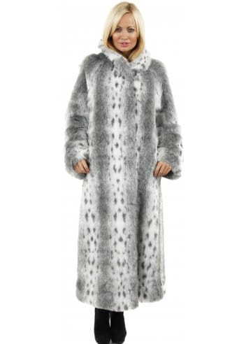 Marble Marble Full Length Fur Coat Grey Lynx Print