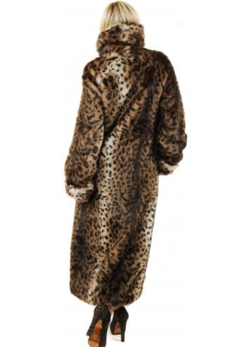 Marble Marble Full Length Fur Coat Leopard Print Faux