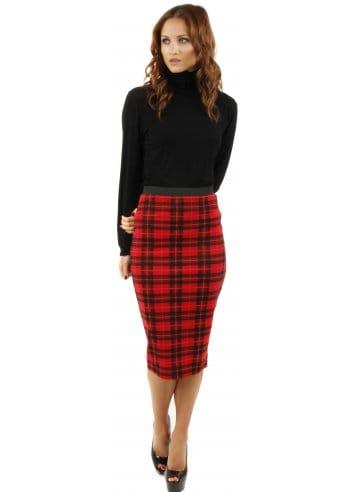 tartan midi skirt tartan skirt tartan pencil skirt