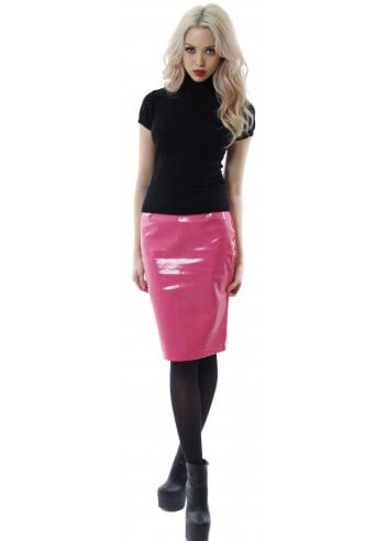 pink vinyl skirt pink pvc midi skirt cheap pencil skirt