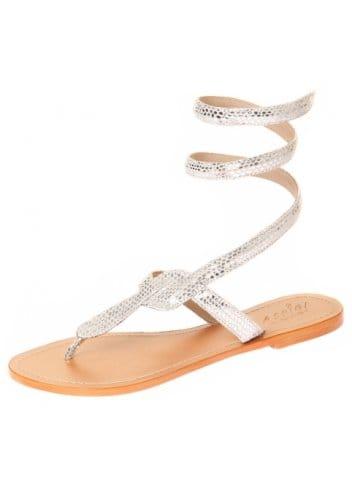 Aspiga Sandals Cobra Silver Snakeskin Ankle Wrap Toe