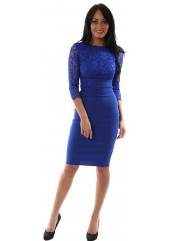 Goddess London Dress Royal Blue Lace Designer Pencil Dress