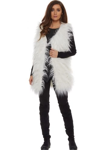 Fluffy Faux Fur Gilet White Fur Gilet Fluffy Towie