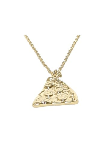 sparkling jewellery new gold pizza slice necklace