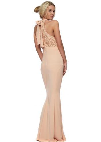 jarlo  jarlo caden peach maxi dress with lace bodice