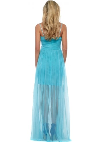 goddess turquoise mesh maxi dress with beaded bodice