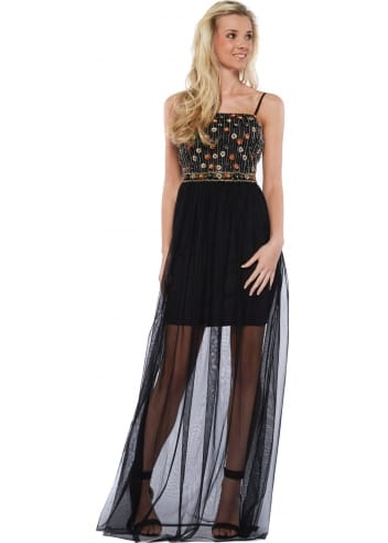 goddess black mesh maxi dress with beaded bodice
