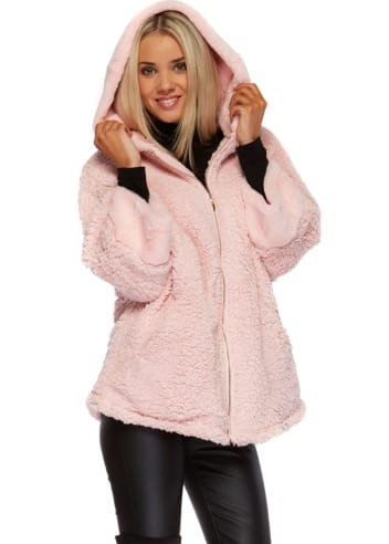 Baby Pink Fluffy Faux Fur Hooded Jacket