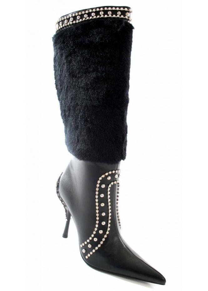 Unze Studded Diamonte Fur Cossack Boots