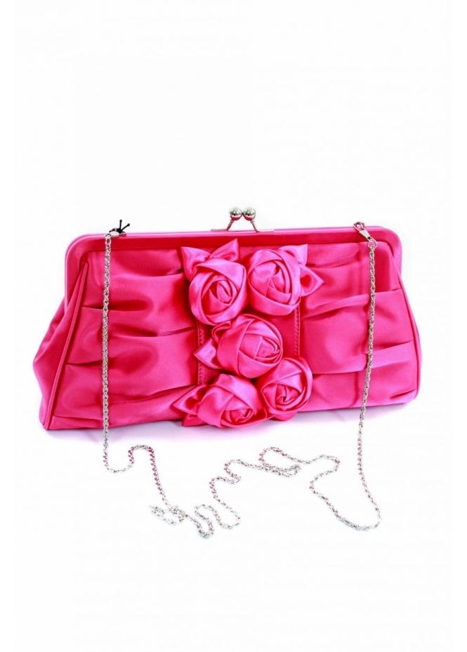 Vendula Hot Pink Satin Rose Cluster Clutch Bag - Clutch Bags From Designer Desirables UK