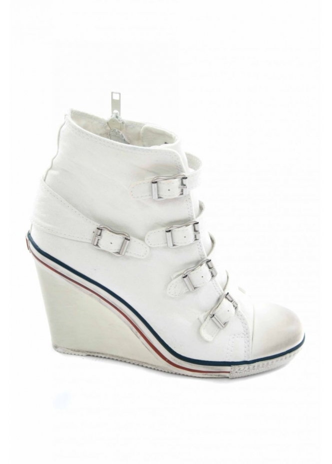 Ash White Twist Wedge High Top Trainer