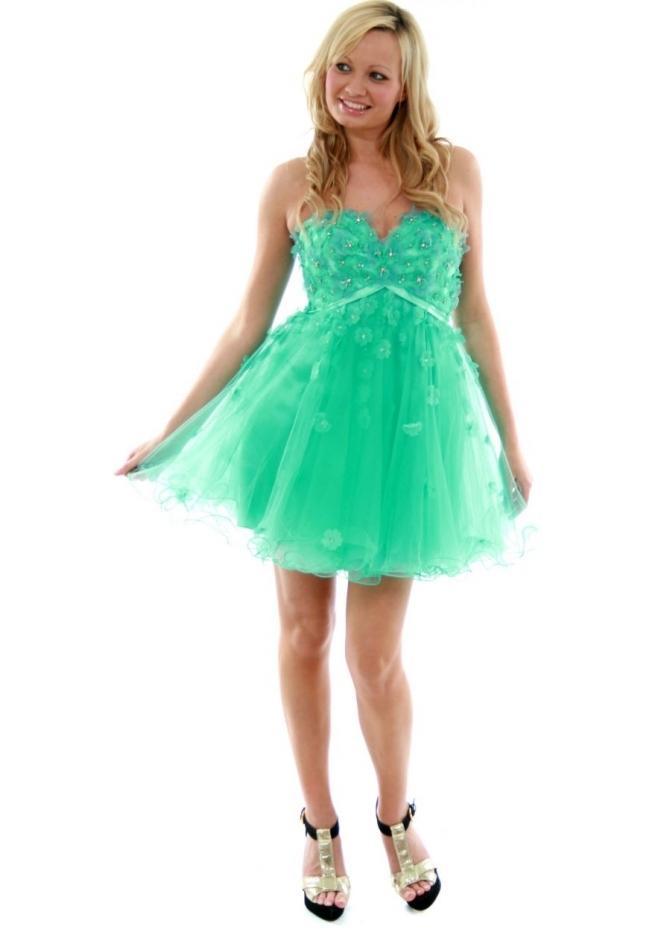 Forever Unique Petal Aqua Diamonte Flower Prom Dress All