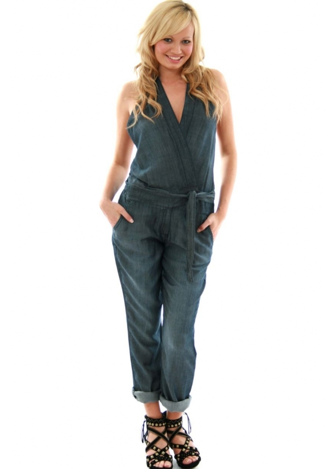 Pinko Occupare Denim Backless Jumpsuit