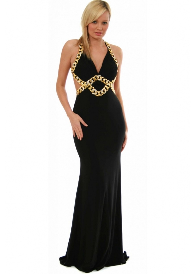 Jovani Ball Gown - Gold Diamonte Chain Cut Out Goddess Style 8512