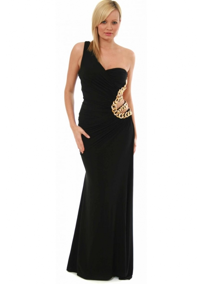 Jovani Ball Gown - One Shoulder Gold Chain Goddess Style 8510
