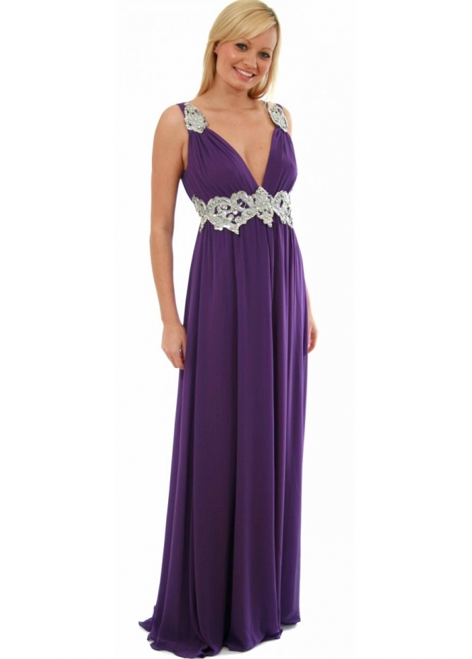 Silver Jewelled Tie Cummerbund Grecian Style Dress - Designer Ball Gowns from Designer Desirables UK