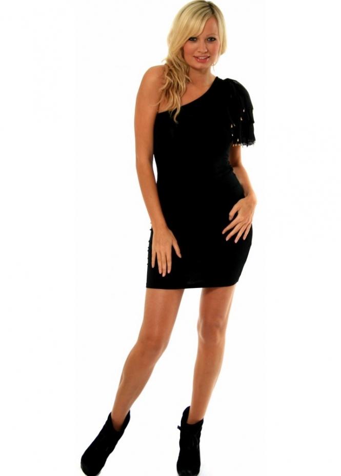 Supertrash Dress - Droovy One Shoulder Gold Trimmed Sleeve