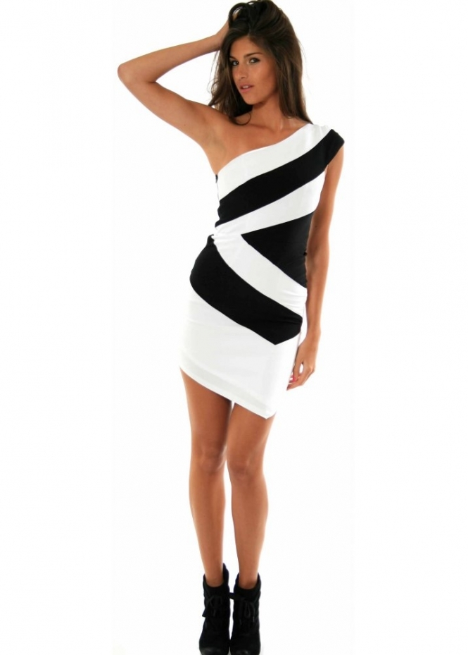 Forever Unique Dress - Angela Black & White Panelled