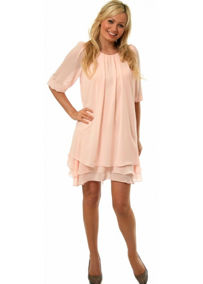 Soo Lee Dress Pink Tiered Chiffon