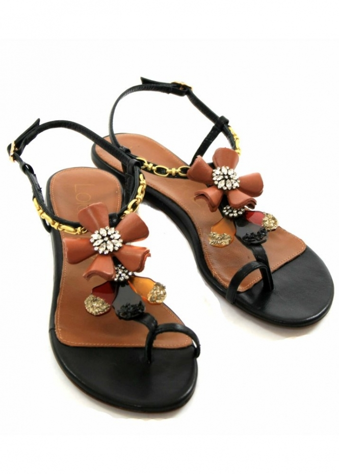 Sandals Toe Post Jewelled Flats