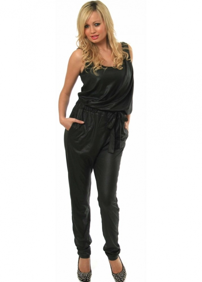 Supertrash Jumpsuit Leather Look Elasticated Waist