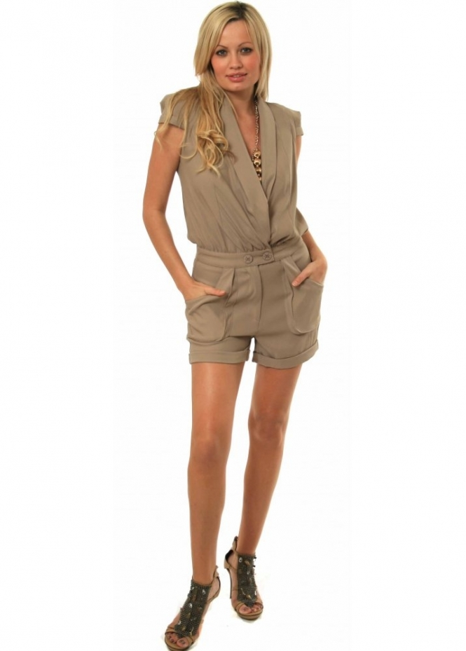 Supertrash Playsuit Draped Collar With Cute Pockets