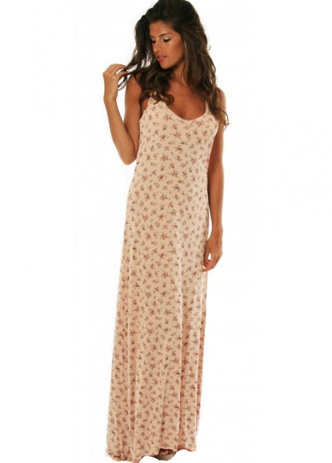 Dress Nude Rose Print Jersey Dystsy Maxi