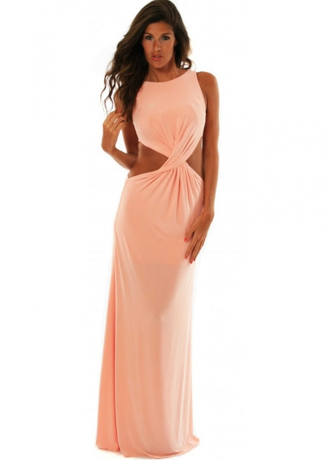 Chic Boutique Goddess Dress Cut Out Sides Maxi