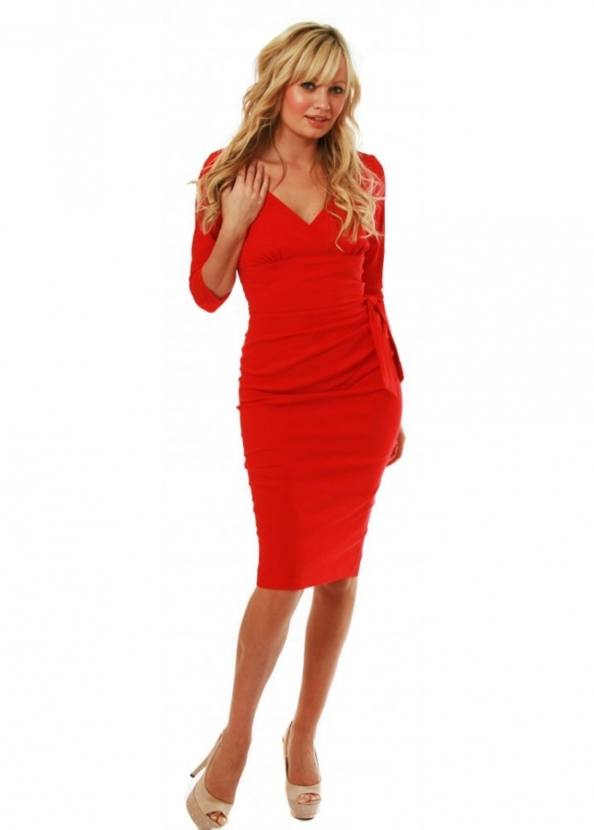 Hybrid Dress Red 3/4 Sleeve Wiggle Plunge V Neck