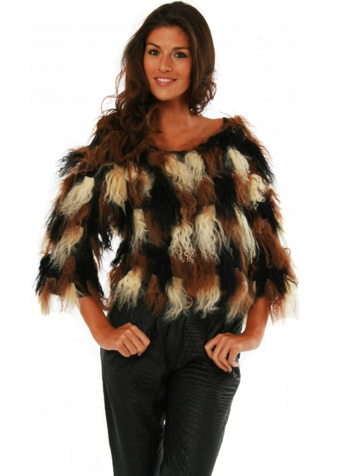 Supertrash Cardigan Mongolian Fur Patchwork Jakes Bolero