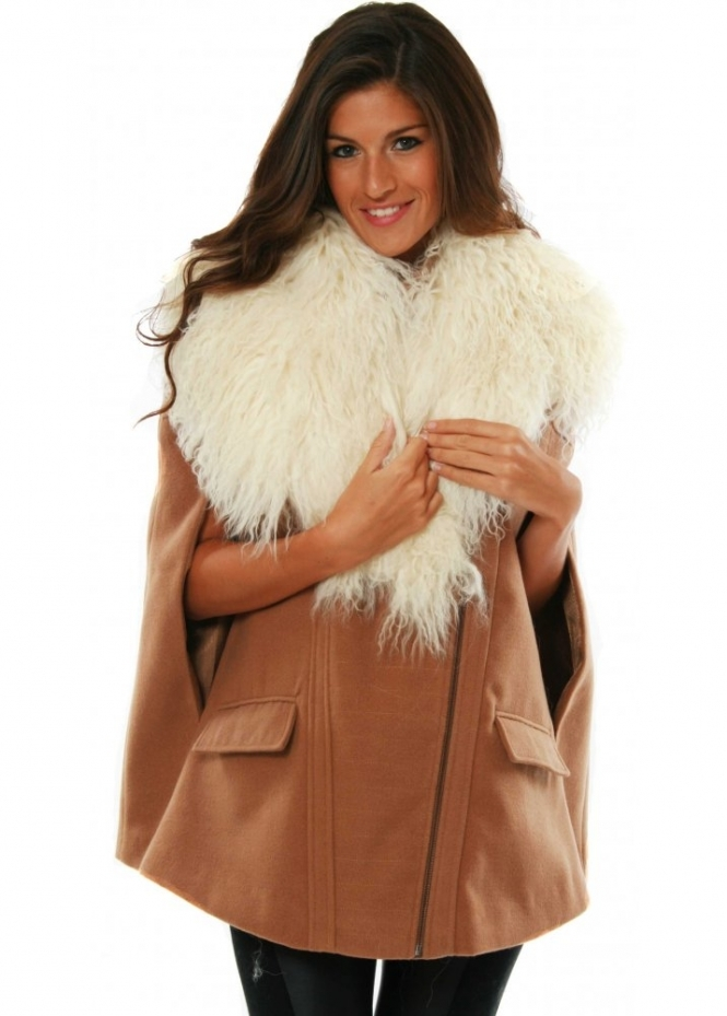 Shoulder Cloud Bolero Ivory Mongolian Fur Collar