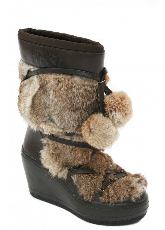 Ash Zubroska Boots Fur Pom Pom Cossack Wedge Boot