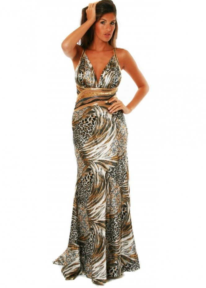 Koo-Ture Evening Dress Faith Leopard Print Embellished Ball Gown