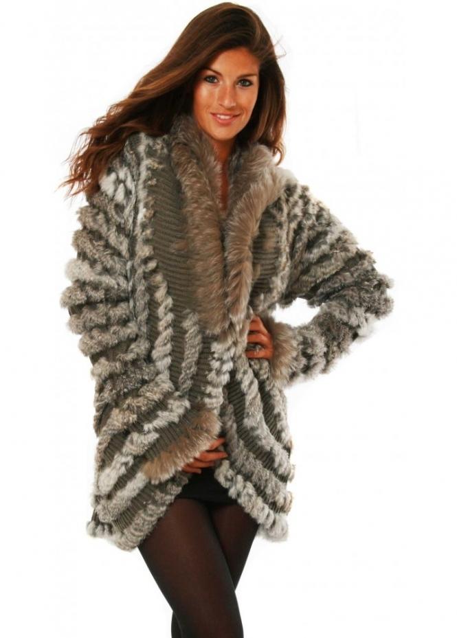 Designer Fur Jacket Designer Fur Knitted Cardigan
