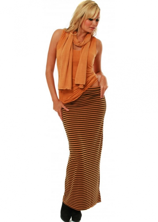 A Postcard From Brighton Skirt Holly Amber Thin Stripe Column Maxi Skirt