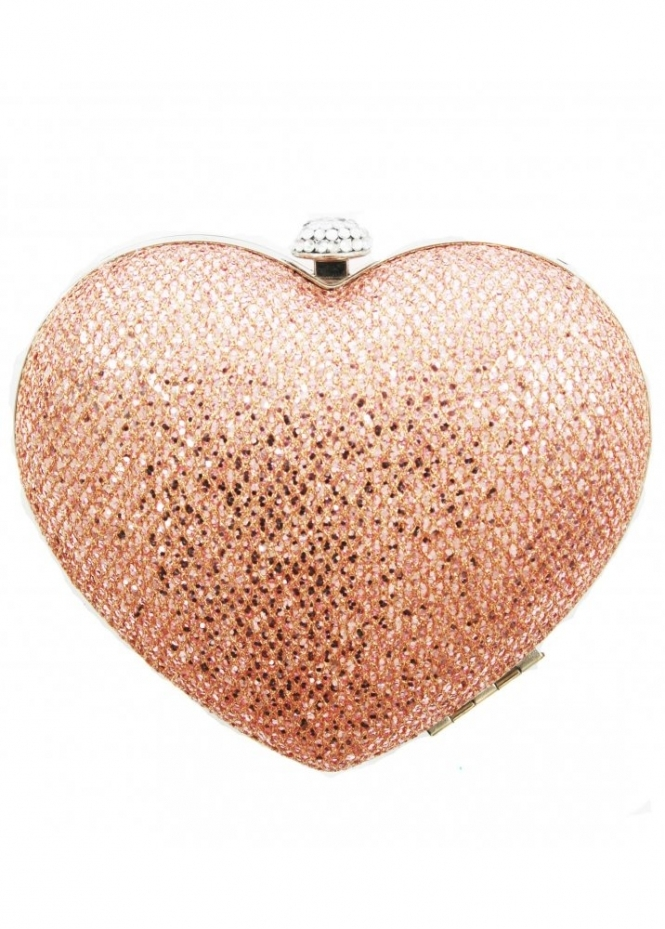 KoKo Bag Pink Sequin Embellished Heart Clutch Bag