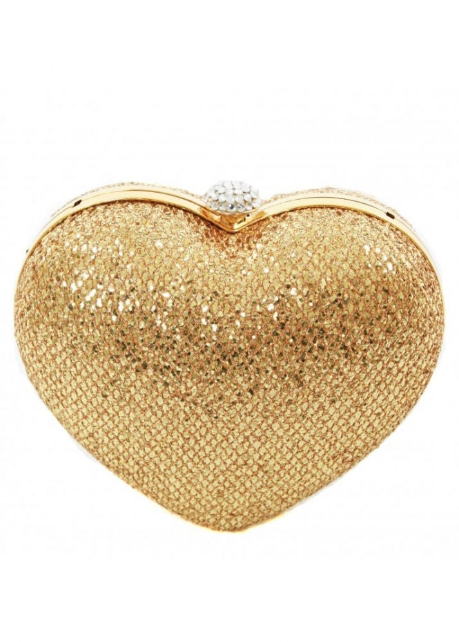 KoKo Bag Gold Sequin Embellished Heart Clutch Bag