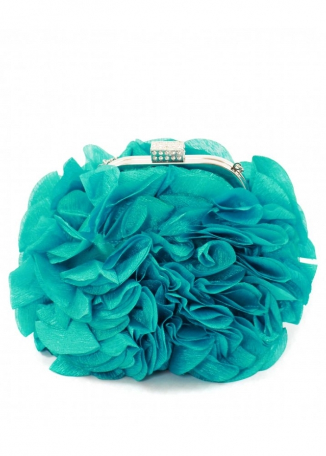 KoKo Bag Silky Satin Petal Rosettes Turquoise Evening Bag