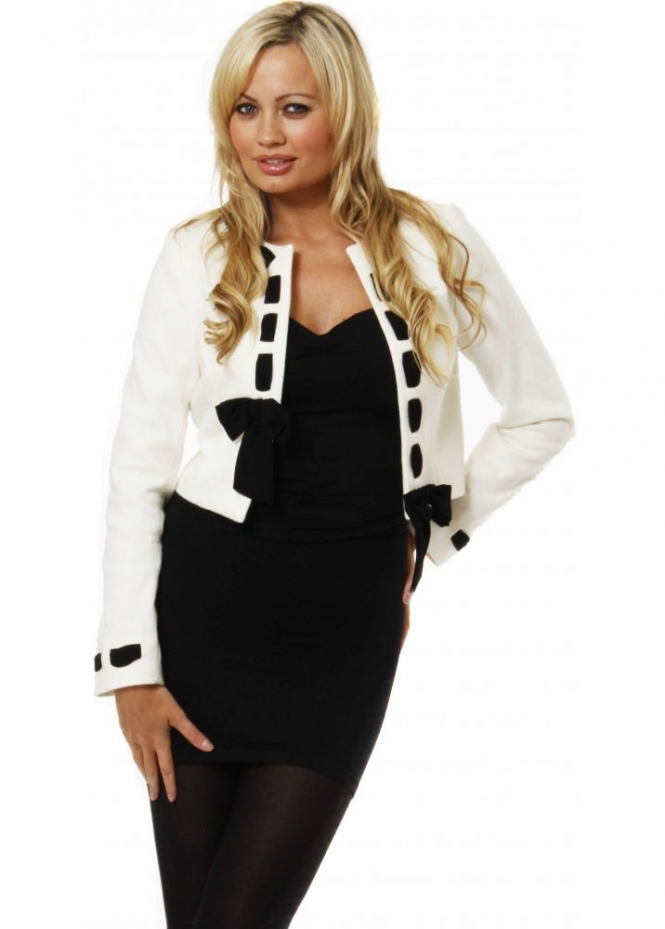 Jacket Bow Detail Cream Wool Blend Cropped Jacket
