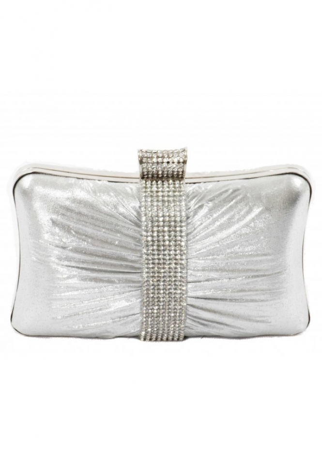 KoKo Bag Silver Satin Crystal Band Box Clutch Bag